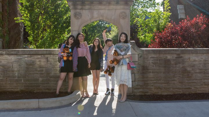 degroote grads in university archway