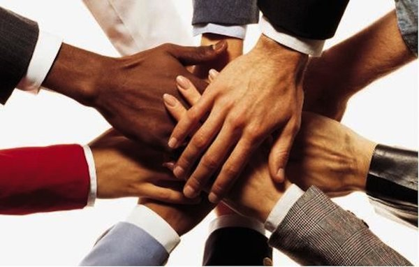 hands all joining together