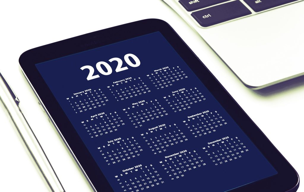 tablet calendar for 2020