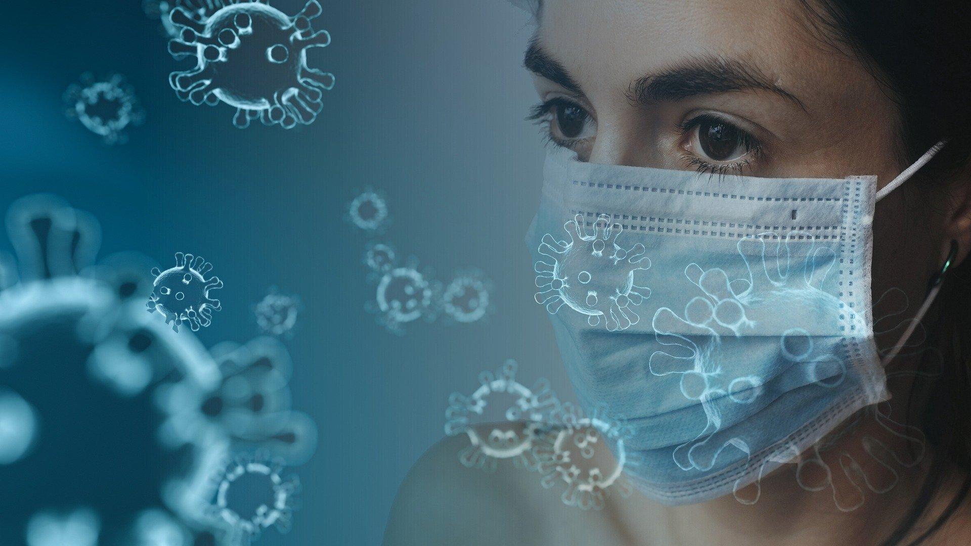 virus image with girl wearing mask
