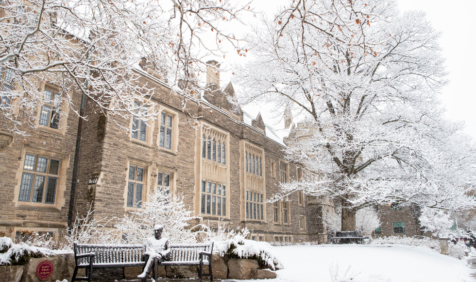 Winter snow fall in front of University Hall McMaster main campus