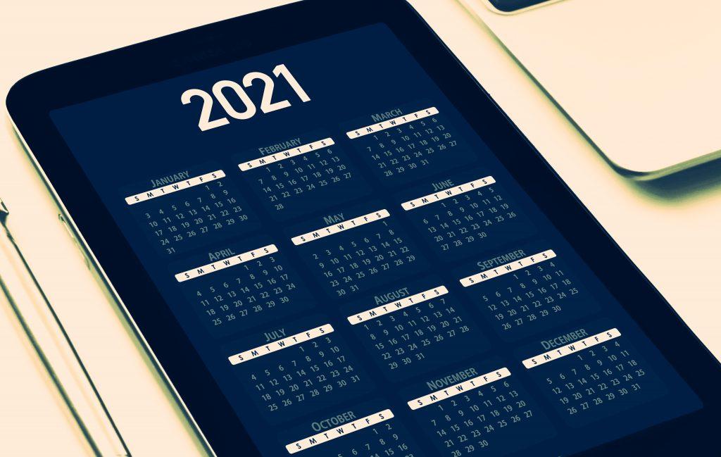 2021 calendar on a phone