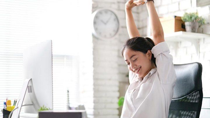 woman taking a stretch break