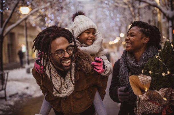 family walking in winter